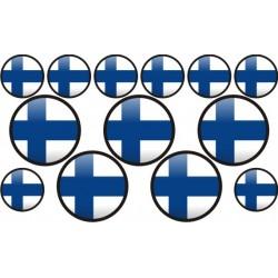 autocollant drapeau Finlande rond