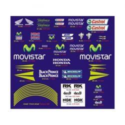 HONDA Movistar kit Stickers - Planche Autocollants Honda 96