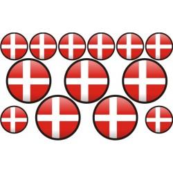 autocollant drapeau Danemark rond