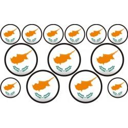 autocollant drapeau Chypre rond