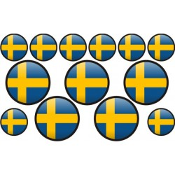 autocollant drapeau Suède rond