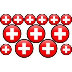 autocollant drapeau Suisse rond