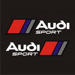 Audi Sport - 2 stickers autocollant blanc