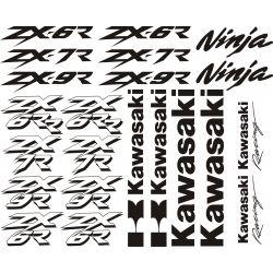 Kawasaki Ninja ZX6R R - ZX7R -ZX9R - Racing Stickers - Planche Autocollants Kawasaki - 102