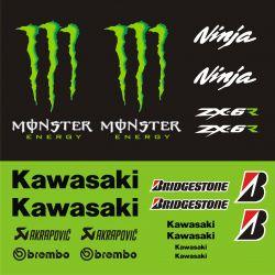 Kawasaki ZX6R Stickers - Planche Autocollants Kawasaki 114