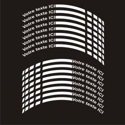 12 Stickers de jantes personnalisables pour moto - Texte et Coloris au choix