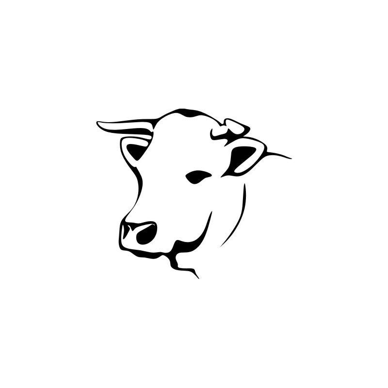 Dessin tete de vache sticker autocollant - Vache dessin facile ...