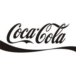 Lettrage Coca Cola adhésif découpé avec vague en dessous