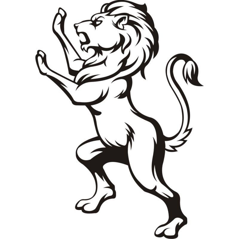 Autocollant Lion Debout Profil Coloris Et Taille Au Choix