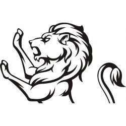 Autocollant tête de Lion debout - profil - Coloris et taille au choix