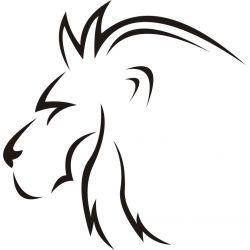 Autocollant esquisse tête de Lion - profil - Coloris et taille au choix