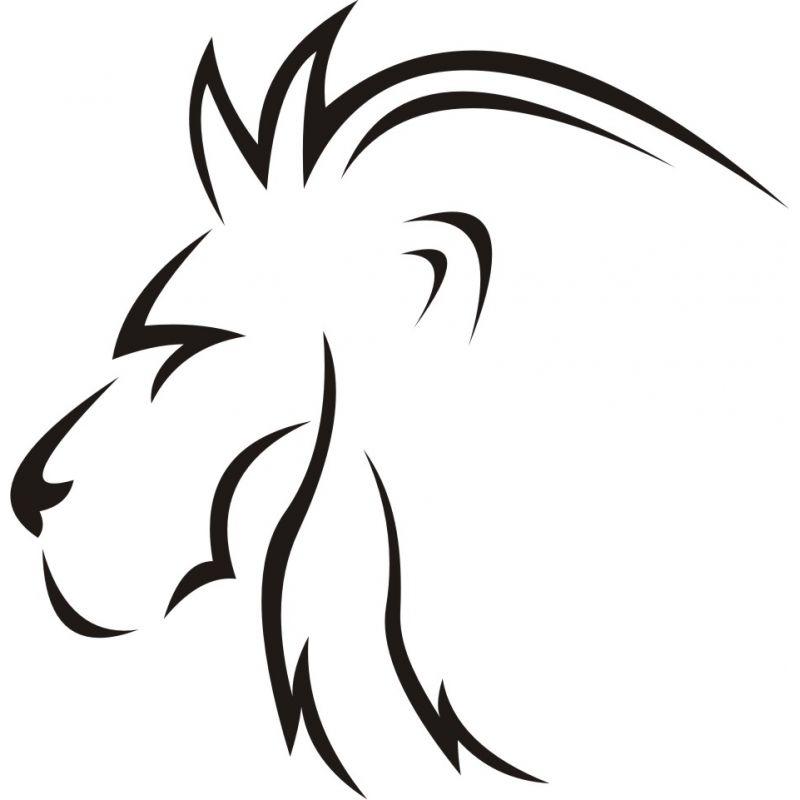Autocollant Esquisse Tête De Lion Profil Coloris Et Taille Au Choix