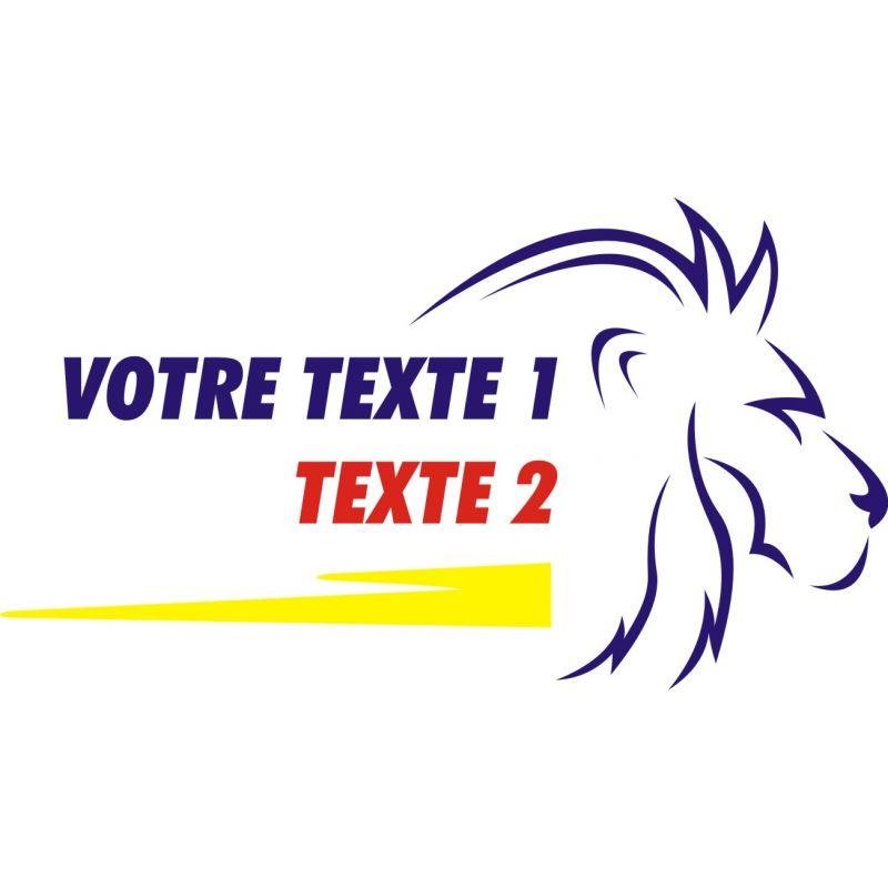 Texte personnalisable 3 avec tête de lion