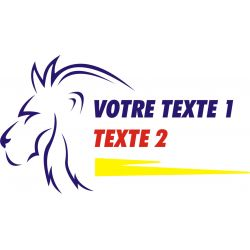 Texte personnalisable 4 avec tête de lion