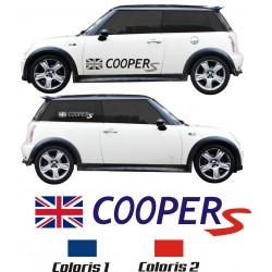 Sticker Cooper S + drapeau