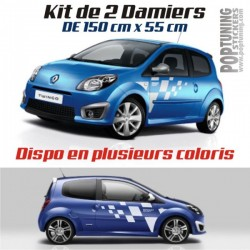 Kit 2 stickers Damiers Renault RS - 150 x 55 cm