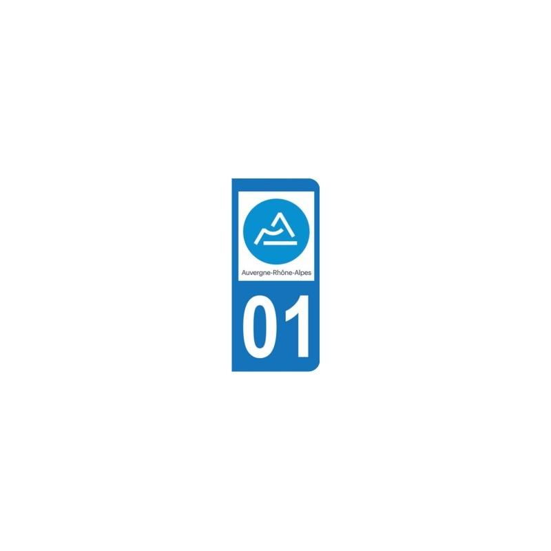 Sticker immatriculation 01 - Ain - Nouvelle région Auvergne-Rhône-Alpes