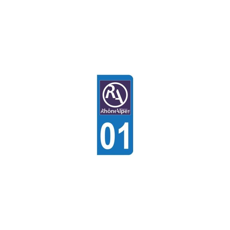 Nouveau logo Rh/ône Alpes Autocollant Moto immatriculation 01