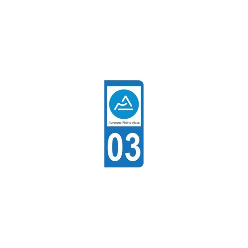 Sticker immatriculation 03 - Allier - Nouvelle région Auvergne-Rhône-Alpes
