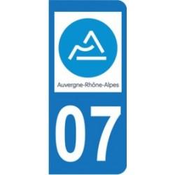 Sticker immatriculation 07 - Ardèche - Nouvelle région Auvergne-Rhône-Alpes