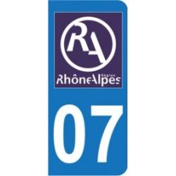 Sticker immatriculation 07 - Nouveau logo Rhône Alpes