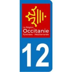 Sticker immatriculation 12 - Occitanie