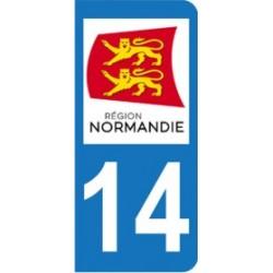 Sticker immatriculation 14 - Nouvelle région Normandie