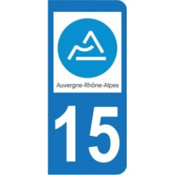 Sticker immatriculation 15 - Cantal - Nouvelle région Auvergne-Rhône-Alpes