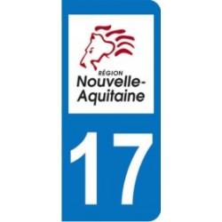 Sticker immatriculation 17 - Nouvelle Aquitaine