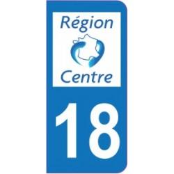 Sticker immatriculation 18 - Cher