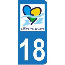 Autocollant plaque immatriculation 18 - Centre - Val de Loire