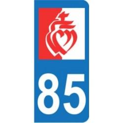 Sticker immatriculation 85 - Drapeau Vendéen