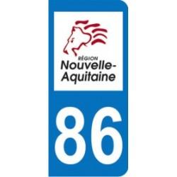 Sticker immatriculation 86 - Nouvelle Aquitaine