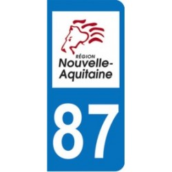 Sticker immatriculation 87 - Nouvelle Aquitaine