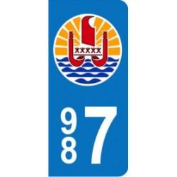 Sticker immatriculation 987 - Polynésie Française