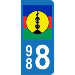 Sticker immatriculation 988 - Nouvelle-Calédonie