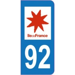 Sticker immatriculation 92 - Haut de seine