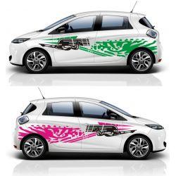 Kit 2 stickers autocollants - Décoration auto 2 côtés - modèle 0004