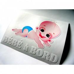 Sticker bébé à bord garcon couché sur le ventre
