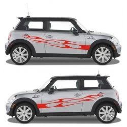 Sticker transfert personnalisé flaming - Kit 2 Stickers - modèle 0085