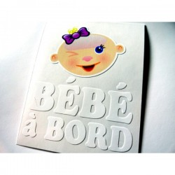 Sticker bébé à bord fillette avec 2 cheveux sur le cailloux