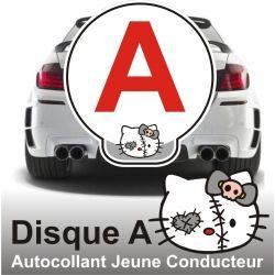 Disque A - Autocollant Jeune Conducteur Chat morbide