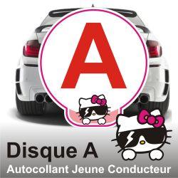 Disque A personnalisé - Autocollant Jeune Conducteur Chat lunettes