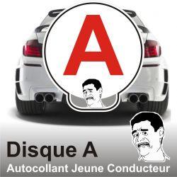 Disque A personnalisé - Autocollant Jeune Conducteur Maitrise totale