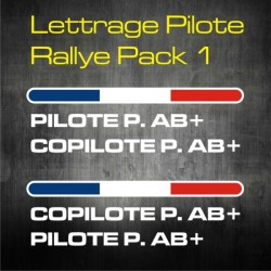 Lettrage Pilote Rallye Pack 1 - personnalisable