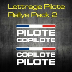 Lettrage Pilote Rallye Pack 2 - personnalisable