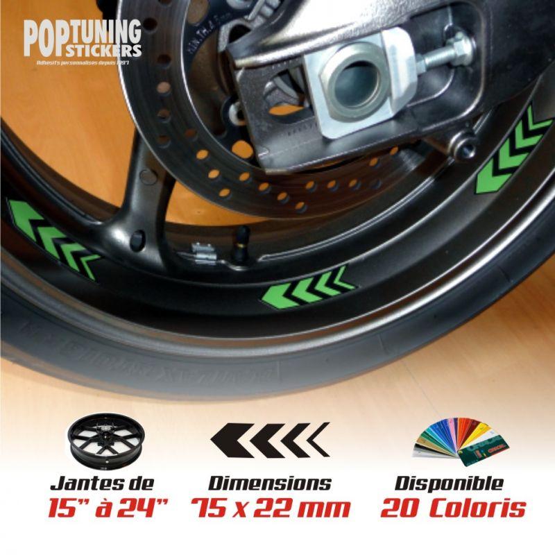Stickers jantes moto - Flèches coloris au choix !
