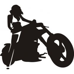 Sticker Femme à Moto - Modèle motard 2
