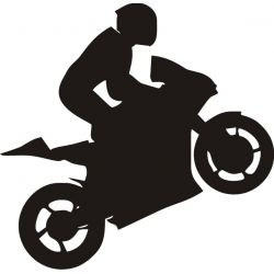 Sticker Moto Stunt Wheely Wheeling - Modèle motard 7