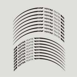16 Stickers de jantes personnalisable pour moto -Texte et 2 Coloris